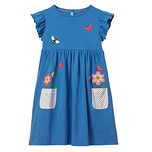 (OHBABYKA Little Girls Cute Casual Baumwolle gedruckt Streifen Kurzarm Playwear Kleider (4T, Flowers))