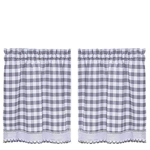 Buffalo Check Plaid GINGHAM Custom passend für Fenster Vorhang Behandlungen von goodgram, verschiedene Farben, Designs und Größen, Polyester-Mischgewebe, grau, 36 in. Tier Pair - 36in Polyester