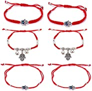 6pcs Evil Eye Hamsa Hand String Kabbalah Bracelets for Protection and Luck Hand-Woven Red Black Cord Thread Fr