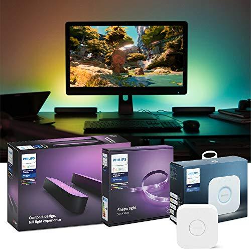 Philips Hue Desktop Gaming Set - Play Doppelpack, schwarz& LightStrip Plus 2 Meter &. Bridge | RGBW Beleuchtung für Schreibtisch und Monitor, kompatibel mit Razer Chroma | Ambilight, App-Steuerung