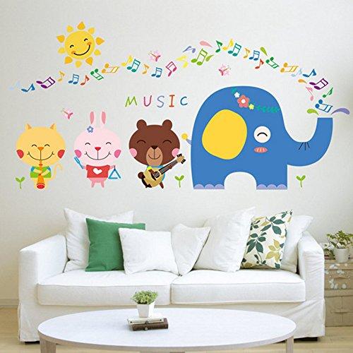 Rainbow Fox Música Elefante pared Pegatinas Niños Animal Zoo pared Calcomanía Gracioso Música Pegatinas