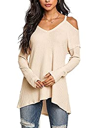 c30aa366b5c YOINS Women Cold Shoulder Baggy Shirt Long Sleeves Knitted Top Off Shoulder  Blouses