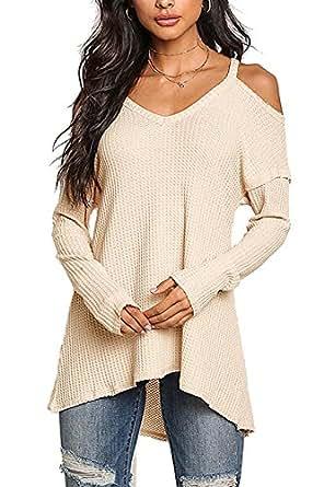 YOINS Damen Pullover Schulterfrei Oberteil Off Shoulder Pullover Strickpullover für Damen V-Ausschnitt Beige EU32-34