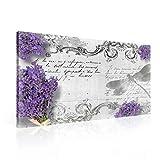 Blumen Lavendel Muster Text Vintage Leinwand Bilder (PP1511O1FW) - Wallsticker Warehouse - Size O1 - 100cm x 75cm - 230g/m2 Canvas - 1 Piece