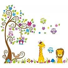 Tangda Zoo Pegatina Para Pared Búho en Árbol con Animal Jirafa León Flor Infantil Decoración Niños Bebés Habitación Dormitorio Guardería 60*90CM
