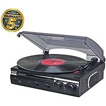 Lauson CL145 Giradischi USB Conversione da Vinile a MP3 Stereo 2 velocità (33/45 RPM) Lettore Vintage Retró e altoparlanti integrati