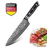 Couteau de Chef Damas 20 cm Lame Alvéolée Couteau de Cuisines Acier Japonais VG10...