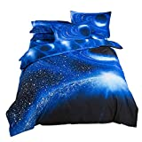 Planet Sterne Galaxis Bettbezug Weltraum Bettwäsche+Weltall Blattt+ Kissenbezüge