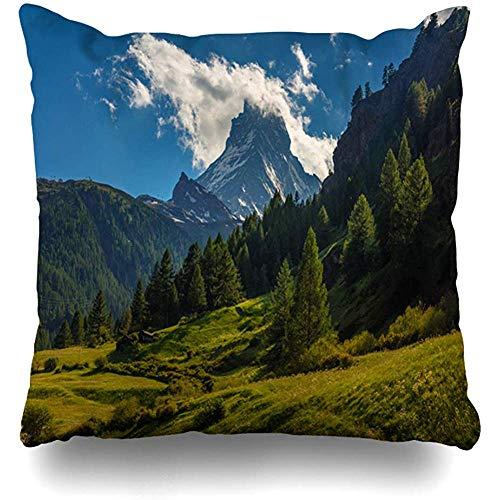 Fundas De Cojín,Vista Panorámica Verde Monte Cervino Zermatt Montaña Suiza Naturaleza Alpes Parques...