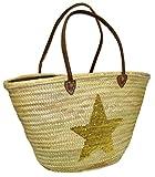 Capazo Grande Lentejuelas Estrella Menorca (Oro)