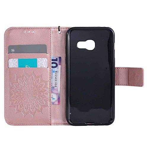 Custodia Galaxy A3 2017 - Dfly Premium PU Goffratura Mandala Design pelle Invisibile Forte chiusura magnetica Design Flip Cover, Per Samsung Galaxy A3 2017, Marrone Rosa Oro