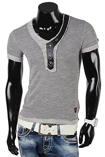 R-NEAL Herren Kurzarm T-Shirt Grau