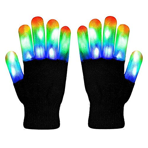 Aolvo LED Leuchten Handschuhe, Kreative LED Finger Warme Handschuhe mit 6 Modi 3 Farbe Flashing Rave Handschuhe Halloween Weihnachten Kostüm Cosplay Party Favors