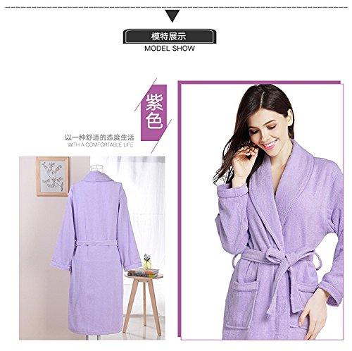 MangeooAlbornoz de algodón de invierno baño sauna engrosada Robe,XXL agregar fertilizante para aumentar,violeta