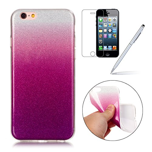 iPhone 6 Plus Case,iPhone 6S Plus Hülle - Felfy Apple iPhone 6 Plus/6S Plus 5.5 Zoll Ultra Slim Ultradünn Case Soft Gel Flexibel TPU Silikonhülle mit Bling Sternchen Gradient Farbe Design Protective S Lila Rote Case