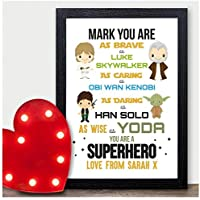 PERSONALISED Valentines Day Gifts STARWARS Boyfriend Husband Presents for Him - PERSONALISED ANY NAMES for Anniversary, Birthday - Black or White Framed A5, A4, A3 Prints or 18mm Wooden Blocks