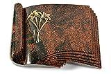 MEMORUM Grabmale Grabbuch, Grabplatte, Grabstein, Grabkissen, Urnengrabstein, Liegegrabstein Modell Prestige 40 x 30 x 8-9 cm Aruba-Granit, Poliert inkl. Gravur (Bronze-Ornament Lilien)
