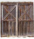 Abakuhaus Duschvorhang, Holz Tür von einer Scheune mit Nussbaum Kirsche und Eichenholz Tönen Digitale Illustration Druck, Wasser und Blickdicht aus Stoff mit 12 Ringen Schimmel Resistent, 175 X 200 cm