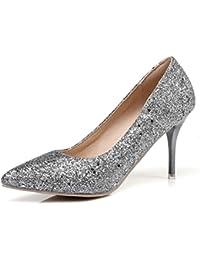 Easemax Damen Glanz Spitze Zehe High Heels Stilettos Stiefel Pumps Silber 42 EU