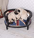 Hundesofa-Barock-Hundebett-Union-Jack-Bezug-Hundebettchen-Mops-Bully-Katzenbett-Palazzo-Exclusiv