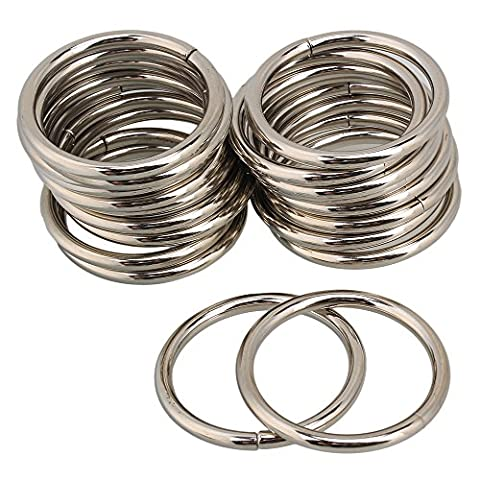 BQLZR Silver Chrome Metal O Ring Webbing Belts Buckle For 38mm Width Strap Adjuster Pack of 20