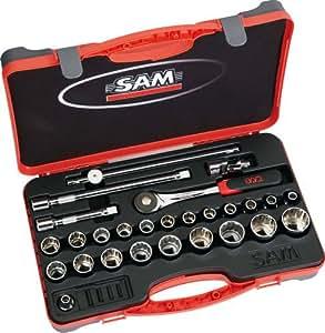 """SAM Outillage 75-S27PA Coffret de douilles/accessoires 1/2"""" 27 Outils de 8 à 32 mm"""