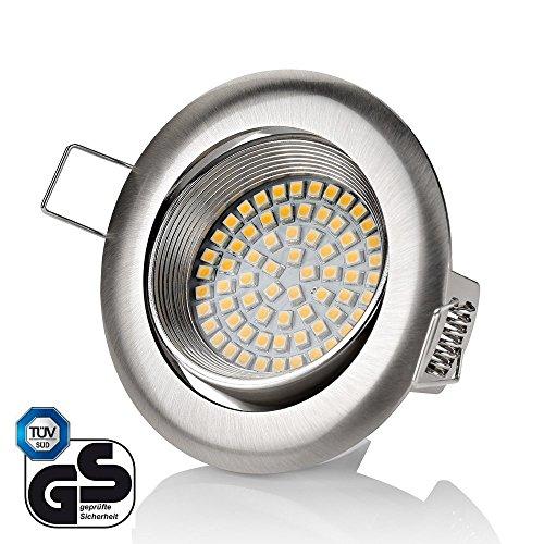Sweet led spot led ® design plat plat/320 lm 3,5 w 230 v en acier inoxydable/ronde/carrée/spots encastrables à led à encastrer Rund - Warmweiß