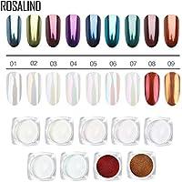 ROSALIND 9 cajas/paquete de polvo efecto perla para decoración de uñas, brillante, mágico, espejo, bricolaje, cromo, diamante, purpurina en polvo