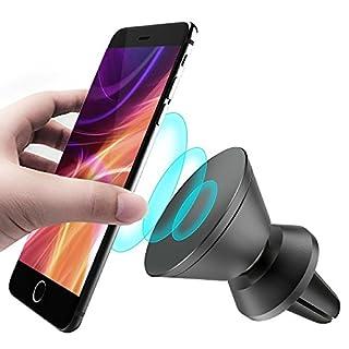 CLM-Tech KFZ Handy-Halterung, 360° drehbar magnetischer Auto Smartphone-Halter universal [Zum Befestigen an der Lüftung] [Magnet für Handy und Handyhülle] [Farbe: schwarz]