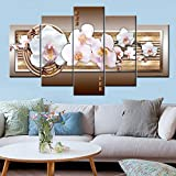 Amphia - Moderne dekorative Malerei, Inkjet-Leinwand, fünf Orchideen, abstrakte Malerei.Mode Wandkunst Segeltuch Malerei 5 Stück Mangnolia Flower