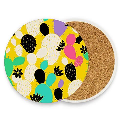 Montoj, süßer Kaktus-Tasse Untersetzer für Getränke, einzigartiges Geschenk für Freunde, saugfähige Untersetzer für Getränke, Holz, 1, 1 piece set