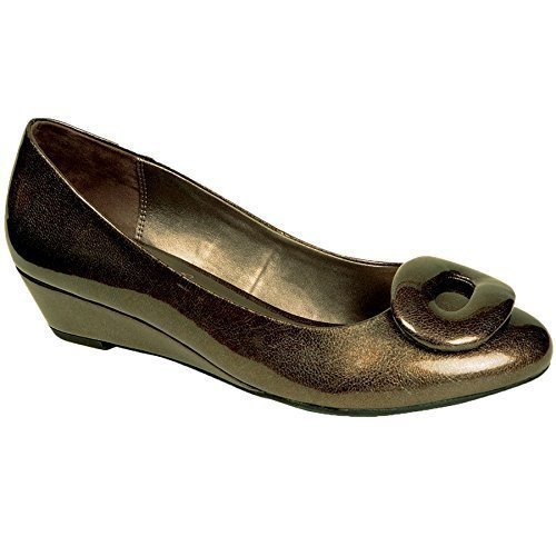 Fantasia Boutique pour femmes VERNI BRILLANT OVALE boucle devant à enfiler femmes bas talon compensé chaussures Étain