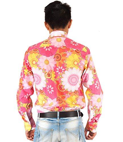 Buntes 70er Jahre Blumen Flower Power Hemd pink Pink gelb