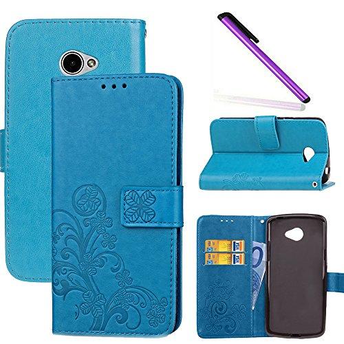 COTDINFOR LG K5 Hülle für Mädchen Elegant Retro Premium PU Lederhülle Handy Tasche im Bookstyle mit Magnet Standfunktion Schutz Etui für LG K5 Clover Blue SD