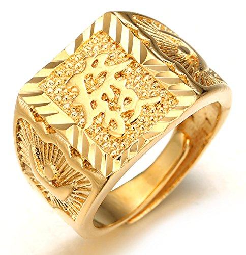 egne Alle ● Männlich 18K Gold überzogen Kanji Ring REICH Größe verstellbar mit KOSTENLOSER Geschenkpackung ()