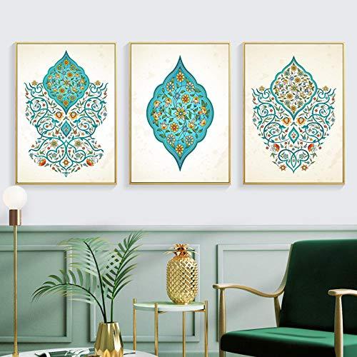 woplmh Arabesque Islamic Turquoise Floral Wandkunst Leinwandbilder Islam Muslim Pictures Poster Prints Wohnzimmer-40x60cmx3 / ohne Rahmen
