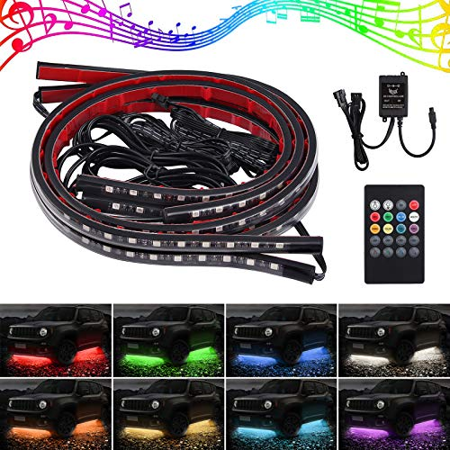 4x8 Farben LED Neon Undercar Glow Licht 8 Farben 12V RGB Auto Chassis Licht Underglow Atmosphäre Dekorative Bar Lights Kit mit Sound Aktive und drahtlose Fernbedienung für Auto Bumper Car Bottom