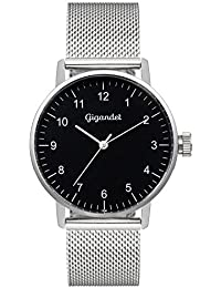 Gigandet Quarz Damen-Armbanduhr Minimalism Uhr Analog Edelstahlarmband Silber Schwarz G27-006