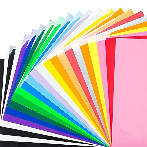 SUNREEK - Paquete de 12 hojas de transferencia de vinilo con transferencia de calor de 30 x 25 cm, colores surtidos y brillan en la oscuridad, para planchar en la camiseta, vinilo - mejor vinilo HTV para silueta Cameo, Cricut, prensa de calor