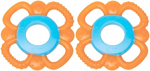 Mee Mee Multi Textured Silicone Teether, Orange/Blue (Pack of 2)