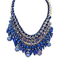 MJARTORIA Women Necklace Bead Tassel Pendant Waterdrop Woven Jewelry for Decoration 60cm Blue