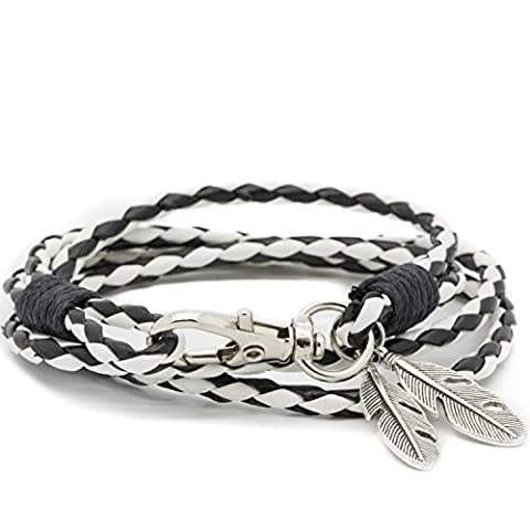Black & White Vikings Braided Bracelet Tribal Braded Rope with Feathers Pendant
