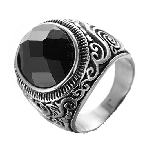 PMTIER Hombres Acero Inoxidable Vendimia Grabado Patrón Anillo De Piedras Preciosas Negro 19