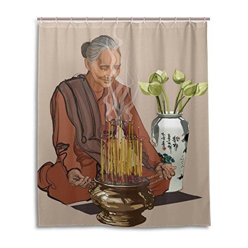 ZOEO Bath Shower Curtain 60x72 Inch Happy Buddha Yoga Meditation Old Women Waterproof Polyester Fabric Bathroom Curtain