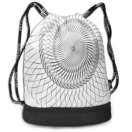 werert Geometric Helix Spiral Color Drawstring Bag Gym Bag Sport Bag For Men Women