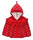Kookoohouse Poncho Abrigo con Capucha de Punto con Lazo de Bebé Niña Cálido Suave Cómodo Estilo Dulce - Rojo (2-3 años)