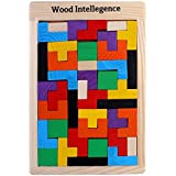 Trinkets & More - Tetris Wooden Jigsaw Puzzle (40 Pieces) | Wood Intelligence Game | Tangram Brain Teaser | STEM Toys Kids 2+ Years