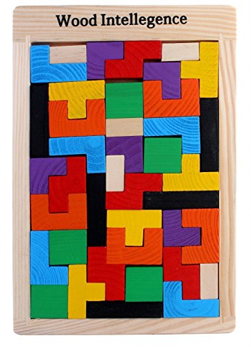 Trinkets & More™ - Tetris Wooden Jigsaw Puzzle (40 Pieces) | Wood Intelligence Game | Tangram Brain Teaser | Early Education Toys Kids 2+ Years