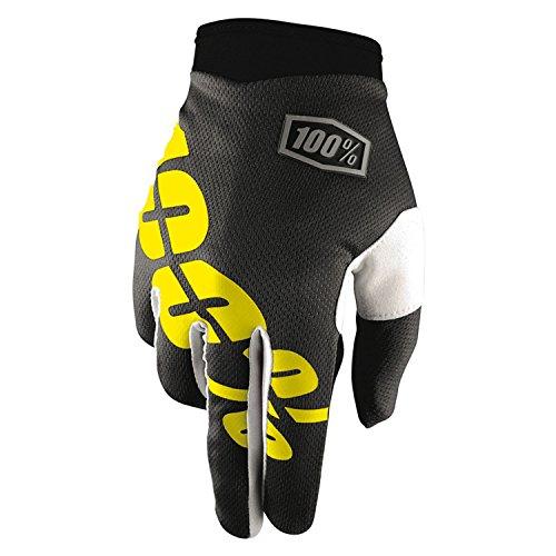 100% Prozent iTrack Kinder Handschuhe Clarino MTB DH MX Motocross Enduro Offroad Quad, HU-GLO-0003, Farbe Schwarz Gelb, Größe L