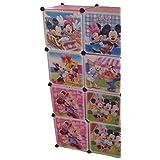 Sistema De Estante Armario Estantería Dormitorio Infantil Armario Muebles Para Niños Armario - rosa, de 8